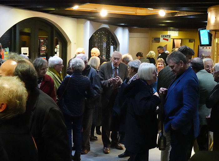 Crowd of people at the Brecknock Society and Museum Friends' Sir John Memorial Lecture in Theatr Brycheiniog, Brecon