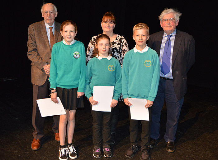 The three recent winners of the Victor Jones Children's History Project Competition, run by Brecknock Society and Museum Friends.