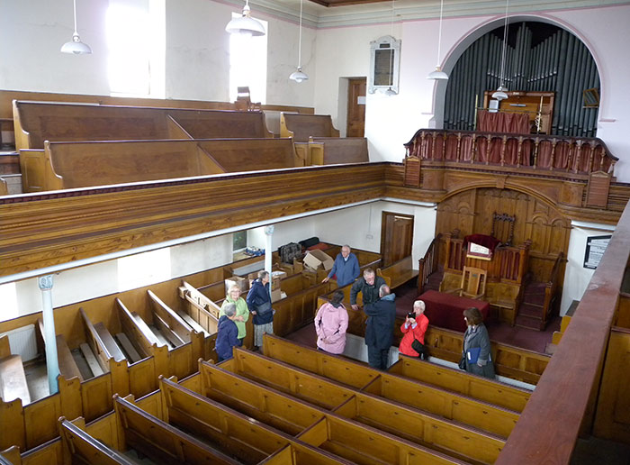 Brecknock Society visiting the interior of Llanwyrtd Wells Chapel
